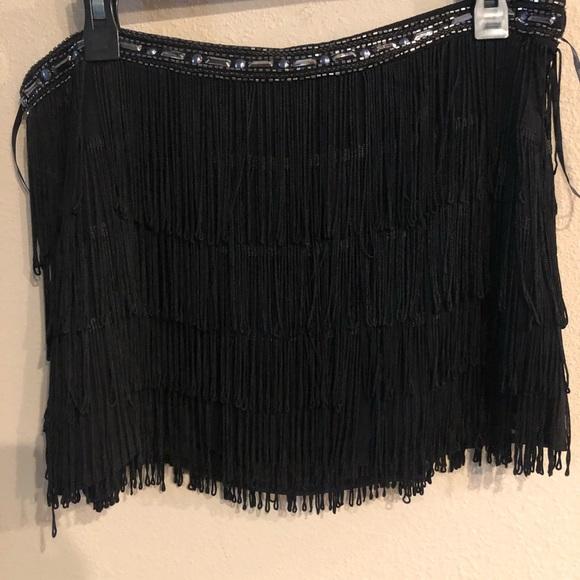 Forever 21 Dresses & Skirts - Forever 21 beaded fringe black mini skirt size L